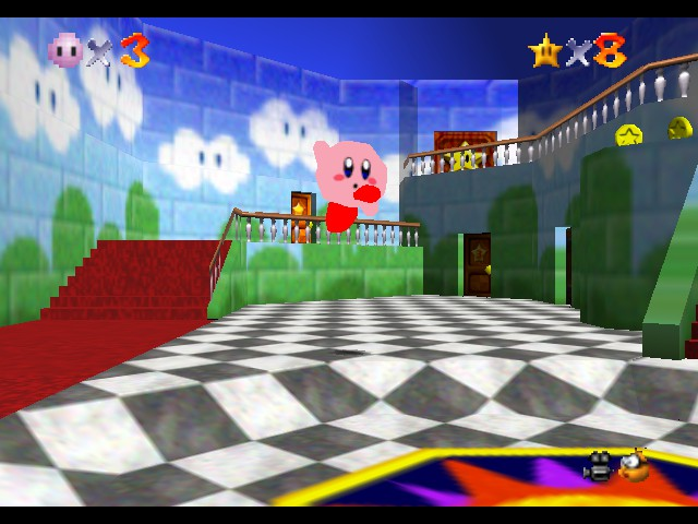 Super Mario 64 - Kirby Edition - Hooray! - User Screenshot